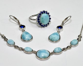 Larimar, Necklace Ring & Earrings (Wholesale) Premium .925 Sterling Silver