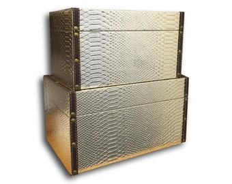 Two Decorative Snakeskin Nesting Boxes / Stacking Boxes