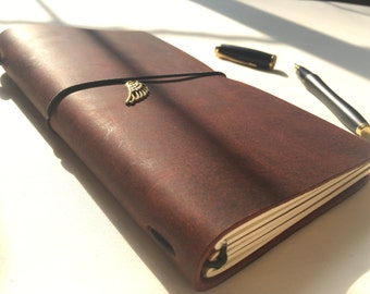 Leather Notebook-Wine Burgundy/Free Gift Wrap/Handmade/Unique Journal/Valentine/Rustic/Refillable/Traveler/Craft/Her/Fauxdori/Midori