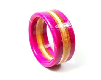 Handmade Pink Recycled Skateboard Ring