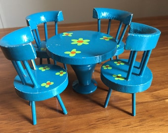 Miniature set table and 4 chairs, vintage, circa 1960s blue with flowers