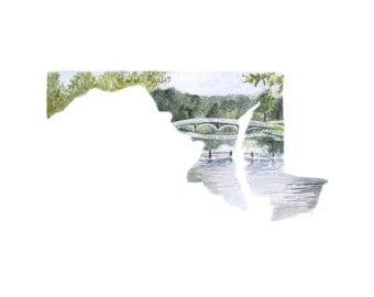 Maryland PRINT, Maryland Art, Maryland Map, Salisbury Maryland, Maryland Watercolor Map, Maryland Painting, Maryland Art Print