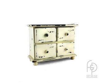 Shabby Chic Chippy Miniature Four Drawer Chest of Drawers on Ball Feet Jewelry/Storage Box