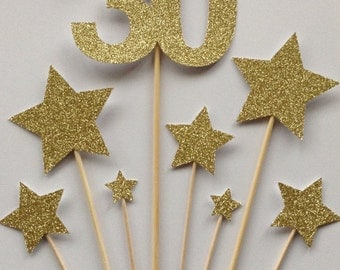 30th Birthday Cake Toppers, Gold Glitter 30 & Star Cake Toppers, Birthday Cake Toppers, Assortment Pack