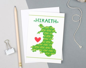 Welsh Gifts - Welsh Map - Welsh Card - Welsh Souvenir - Welsh Art - Welsh Birthday Card - Hiraeth Card - Welsh Card - Best of British