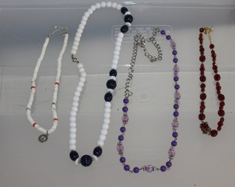 All sorts of Necklaces, 4 in this lot, Fashion Accessories, Vintage, Gift, Purple, White w Black, White w Colors, and One Very Nice Red Gems