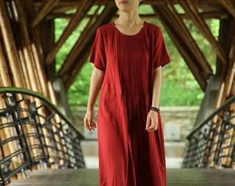 Jacquard pleat short sleeve dress BonLife