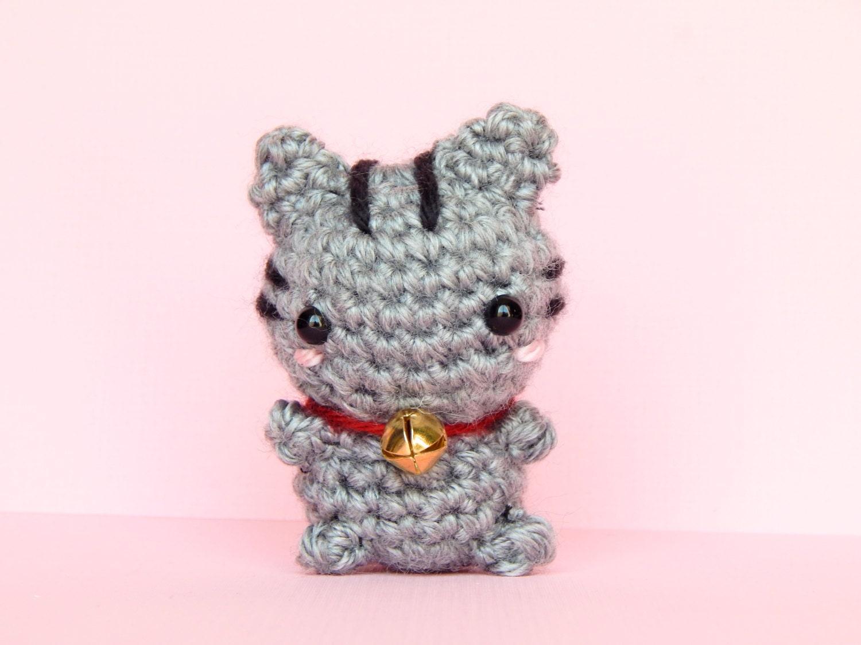 Amigurumi Kitty Mini : Mini Lucky Cat Amigurumi Lucky Cat Plush Gray by BubblyTeaShop