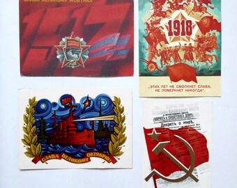Set 4 pcs Soviet Vintage Postcard October Revolution USSR, Unused