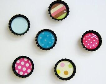 6 ct. Black Bottle Cap Magnets (Variety Pack 2)