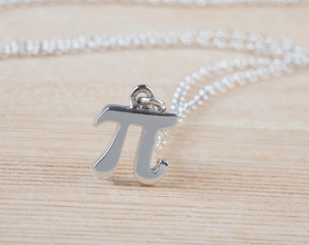 Pi Necklace, Pi Symbol, Math Jewelry, 925 Sterling Silver