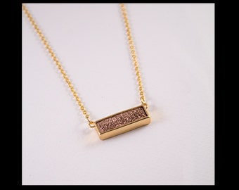 """Necklace """"Sacha"""" with goldrose druzy rectangle"""