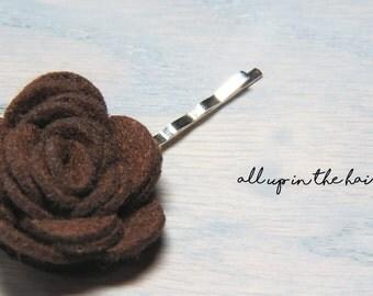 Brown Flower Bobby Pins - Felt Flower Hair Pin
