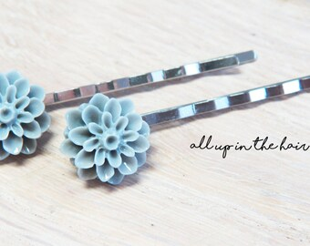 Flower Bobby Pins - Dahlia Bobby Pins - Grey Bobby Pins - Grey Flower Bobby Pins