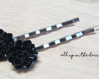 Black Bobby Pins - Black Dahlia Bobby Pins - Black Flower Hair Pins
