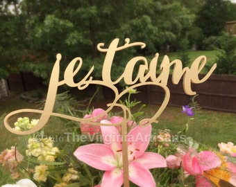 Wedding Cake Topper in French - I love You Cake Topper - Je T'aime