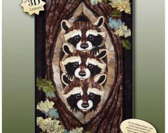 WHO WHAT WHERE Applique Art Quilt Pattern by Toni Whitney Raccoon wildlife