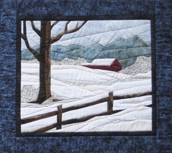Snow Scene Art Quilt Landscape Pieced Pattern By Cynthia
