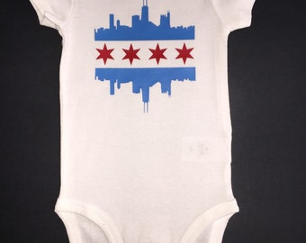 Chicago Flag Skyline Onesie