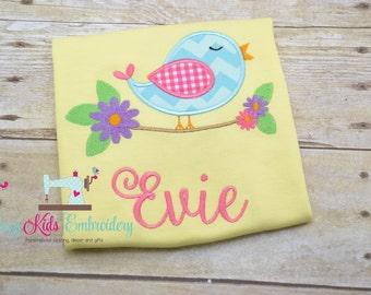 Easter shirt, Spring Shirt, Girls easter shirt, Girls spring shirt, tulip shirt, flower shirt, embroidery, applique
