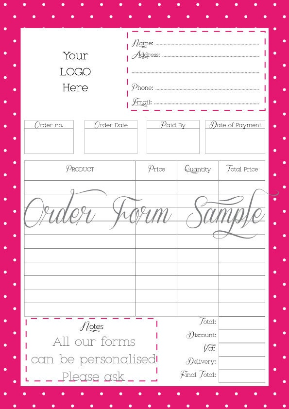 Sizzling image inside free printable order forms