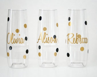 Personalized champagne flute, PLASTIC Flute, Bridesmaid Champagne flute, Personalized Flutes, Champagne Glasses, Bridesmaid Gift, stemless