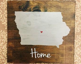 Iowa state sign. Iowa sign. Hawkeye decor. Iowa home