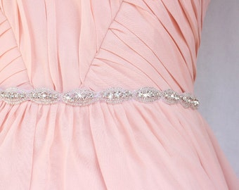 Crystal belt Bridesmaid belt Thin bridal belt Rhinestone Belt Bridal headband beaded belt for wedding dress holiday gift