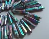Raw Titanium Rock Cystal Quartz Stick Point Beads Rainbow Rough Drilled Metalic Quartz 0449