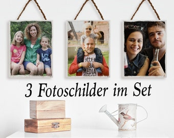3 photo signs wooden Christmas gift set