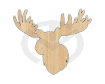Unfinished Wood Moose Silhouette Laser Cutout, Home Decor, Country, Antlers, Rustic, Mountains