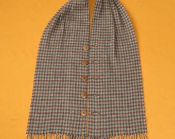 "Johnston Of Elgin Scarf Pure Lambswool Plaid Pattern Brown Vintage Cape Muffler Foulard Shawl Made In Scotland 57"" X 8.5"""