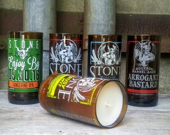 Craft Beer Candle Gift Set - Five Stone Brewing Recycled Bottles
