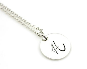EXTRA LARGE INITIAL Hand Stamped Sterling Silver Disc Circle Necklace