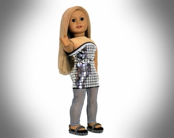 Mirrored Strapless Mini Dress with Gray Leggings and Rhinestone Studded Black Sandals for 18 Inch Dolls such as  Our Generation, AG