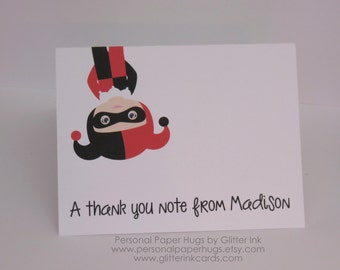 Set of 10 Personalized Superhero Stationery - Villain Note Cards - Harley Quinn - Thank You Cards