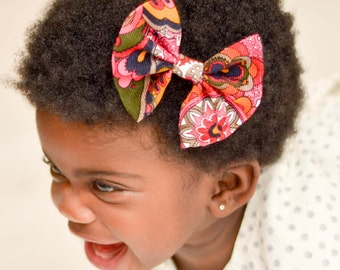 Floral Hair Bow/Damask Hair Bow/Flower Hair Bow