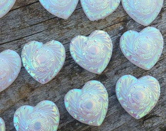 12mm White AB Heart Cabochon