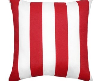 Red Outdoor Pillows, Striped Decorative Outdoor Pillows, Red Outdoor Throw  Pillows, Patio Pillows