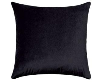 Velvet Pillow Cover, Solid Black Pillow, Velvet Pillow, Black Decorative Pillows, Designer Pillow, Obsession Black, Velvet Throw Pillow