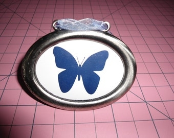 Vintage Frame, Oval Frame, Silver Frame, Butterfly, Silhouette, Small Frame, Gift For Her, Shabby Chic, Home Decor, Mini Frame, Antique
