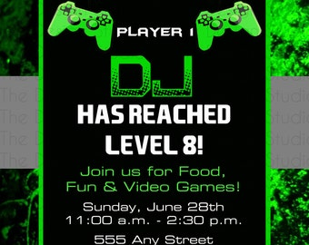 Gamer Game Birthday Invitation