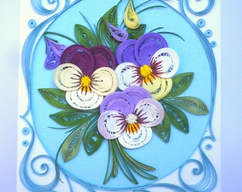 Spring Quilling Card - Quilling card with refined pansies - Mother's day quilling card - Birthday quilling card