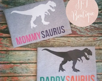 Custom Vinyl Dinosaur Family Shirts Birthday T-Rex