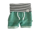 mint surf shorts, baby heather sweats, organic kid shorts, take home outfit, sweatpant boy shorties, jogging outfi