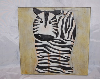 Vintage Animal Safari 3D Zebra Metal Art Wall Decor
