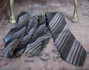 Craigmill Tie, Lambswool Tie, Wool Tie, Scottish Tie, Scottish Necktie, Wool Necktie, Vintage Tie, Pure Wool Tie,  Striped Tie, Brown Tie