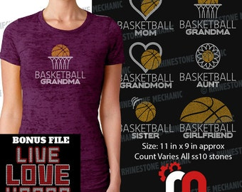 Basketball Family Pack Rhinestone Template Digitial Download