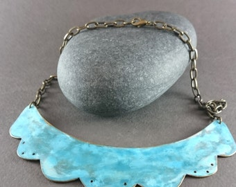 Blue Patina Necklace, Brass Patina Scallop Bib Necklace, Turquoise Bib Necklace, Statement Necklace