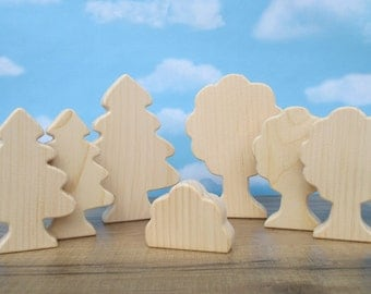 Wooden trees - Wooden toy trees - Wooden toys for kids - Miniature wooden trees - Easter gift - Gift under 20 - wooden trees to paint
